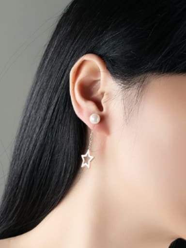 Fashion Artificial Pearls Hollow Moon Star Stud Earrings