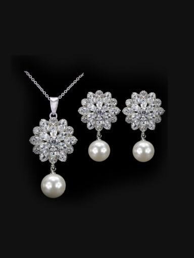 Zircon Flower Pearl Wedding Jewelry Set
