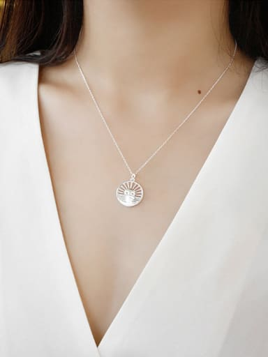 Sterling silver personality versatile sun round necklace