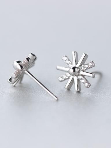 Fashion Snowflake Shaped Rhinestones Silver Stud Earrings