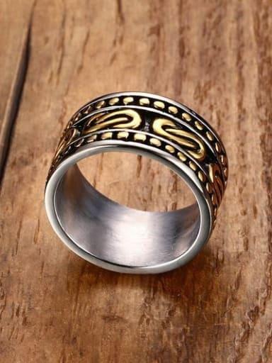 Men Delicate Double Color Design Geometric Titanium Ring