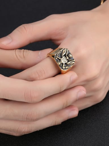Stainless Steel With Gold Plated Punk Eagle Men Rings