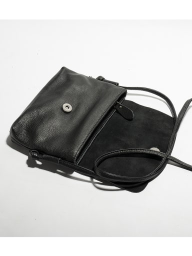 First layer cowhide slung black retro small square bag