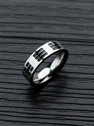 Titanium With Antique Silver Plated Vintage Geometric Band Rings