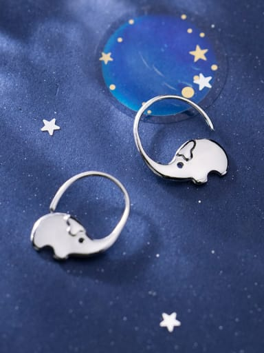 925 Sterling Silver With Platinum Plated Simplistic Animal  Elephant  Hook Earrings