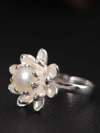 S925 Silver Flower-shape Opening Ring