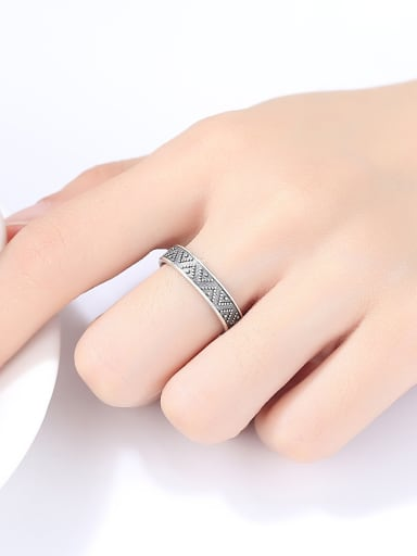 925 Sterling Silver With Antique Silver Plated Vintage Simple Pattern Free Size Rings