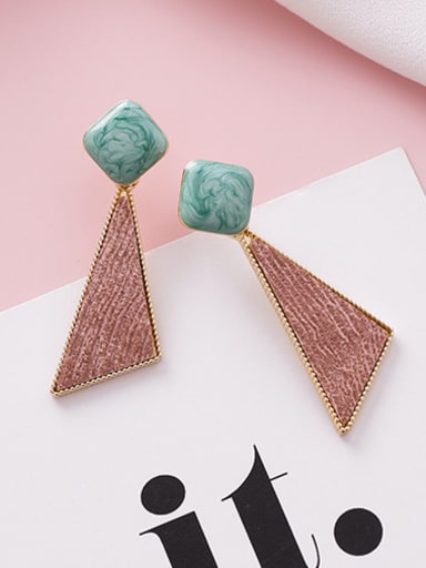 Alloy With Rose Gold Plated Simplistic Geometric  Texture Drop Earrings