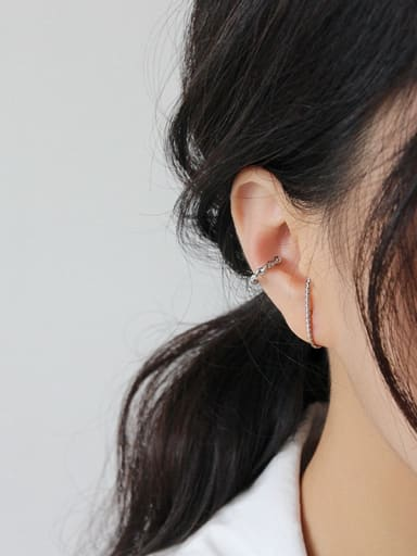 925 Sterling Silver With Hemp Flowers Personality Irregular Stud Earrings