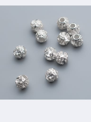 925 Sterling Silver With Silver Plated Love four-leaf flower Beads