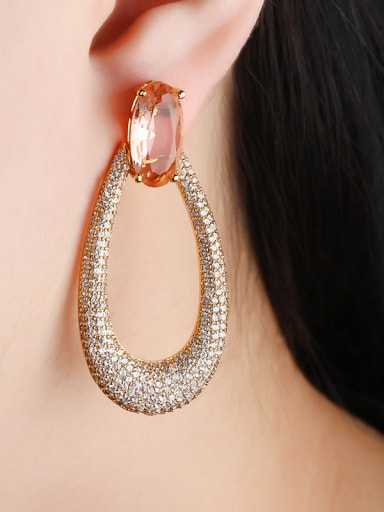 Copper With Cubic Zirconia Delicate Water Drop Cluster Earrings