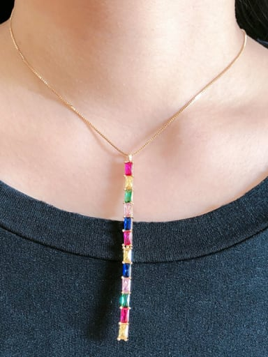 Copper With  Glass stone Fashion Geometric Necklaces