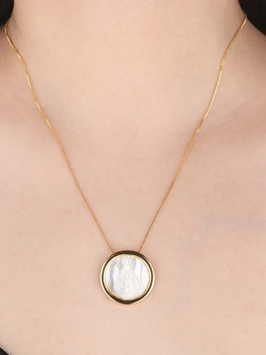 Copper With  Shell Classic Round Necklaces