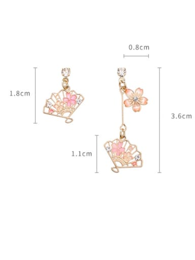 Alloy With Rose Gold Plated Personality Flower Fan Asymmetry Drop Earrings