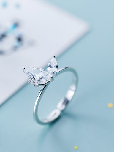 925 Sterling Silver With Silver Plated Cute Butterfly Free Size Rings