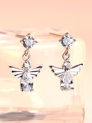 925 Sterling Silver With Cubic Zirconia Trendy Insect Drop Earrings