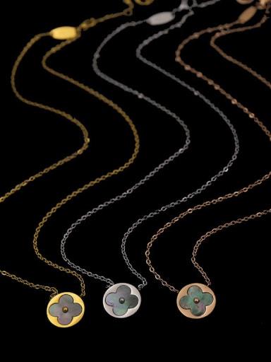 Titanium steel exquisite round  clover shell necklace