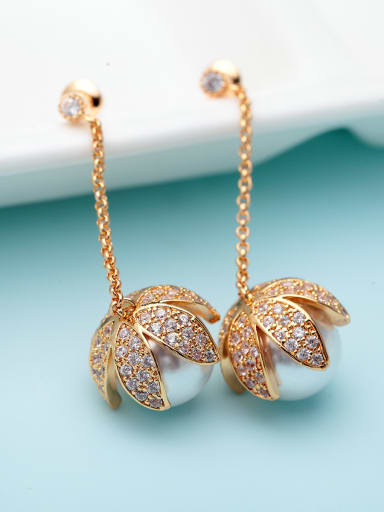 Copper With Imitation Pearl Trendy Leaf Party Chandelier Earrings