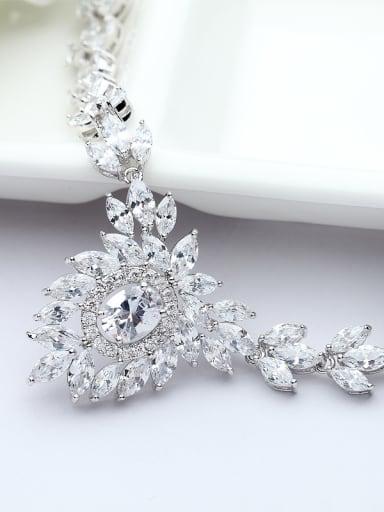 Copper inlaid AAA zircon bridal luxury Necklace