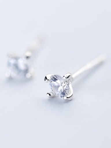 Shimmering Round Shaped Zircon S925 Silver Stud Earrings
