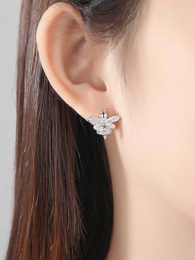 Copper inlaid A zircon bee ear studs earring