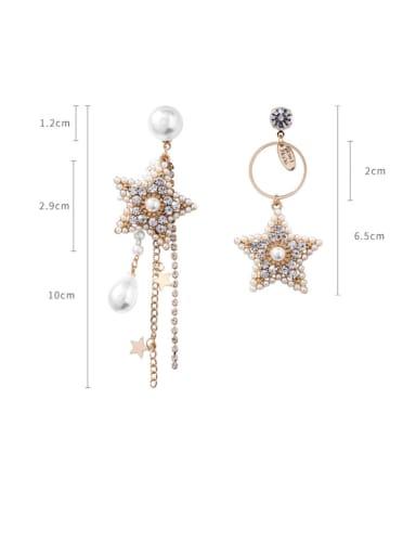 Alloy With Artificial Pearl Bohemia Pentagram Asymmetry Drop Earrings