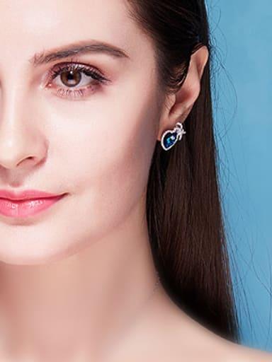 Blue Heart-shaped stud Earring