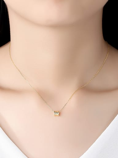925 Sterling Silver With Gold Plated Personality Geometric Necklaces