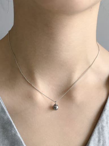 Sterling silver synthetic black pearl minimalist necklace
