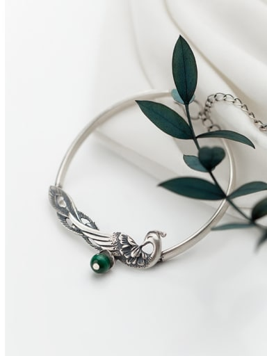 925 Sterling Silver With Silver Plated Personality peacock Geometric Bracelets