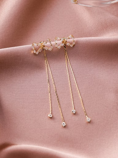 Alloy With Gold Plated Simplistic Bowknot Threader Earrings