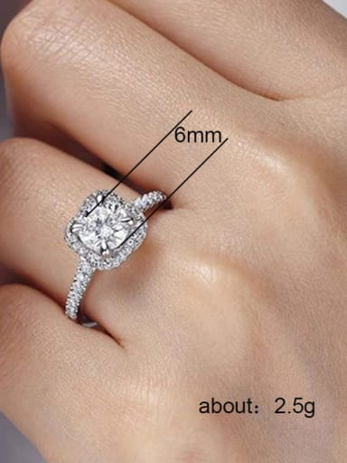 Copper With White Gold Plated Delicate Square Cubic Zirconia Engagement Rings