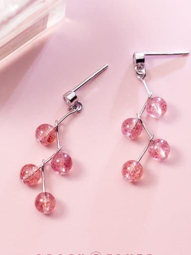 S925 Silver  Wavy Strawberry Crystal Drop Earrings