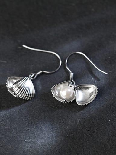 Elegant Shell Shaped Artificial Pearl Silver Drop Earrings