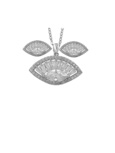 Copper With Cubic Zirconia  Fashion Scallop Shape  Earrings And Necklaces 2 Piece Jewelry Set