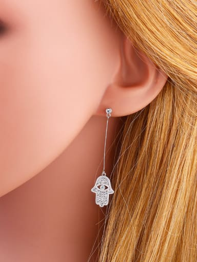 Copper With  Cubic Zirconia Fashion palm Drop Earrings