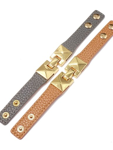 Alloy With Gold Plated Punk Fringe Artificial Leather Bangles