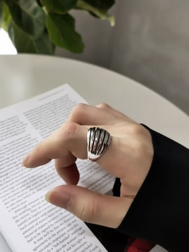925 Sterling Silver With Antique Silver Plated Vintage Irregular Midi Rings