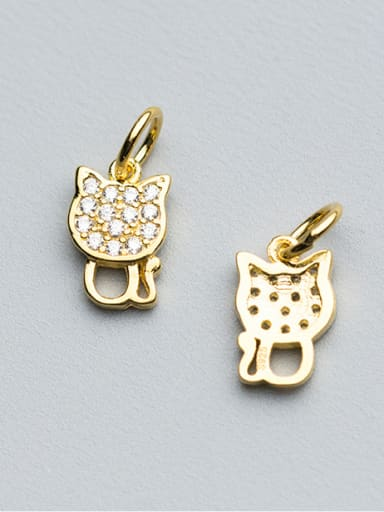 925 Sterling Silver With 18k Gold Plated Cute Cat Charms