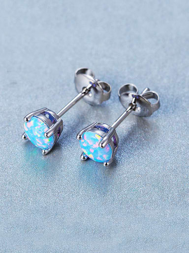 Blue Round stud Earring