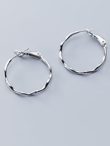 925 Sterling Silver With Gold Plated Simplistic Round Hoop Earrings