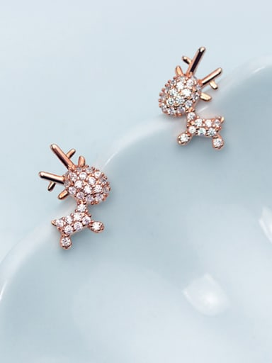925 Sterling Silver With Rose Gold Plated Cute Small Elk Stud Earrings