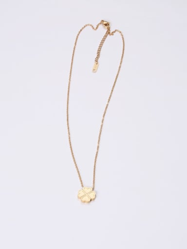 Titanium With Gold Plated Simplistic Four-Leaf Clover  Necklaces