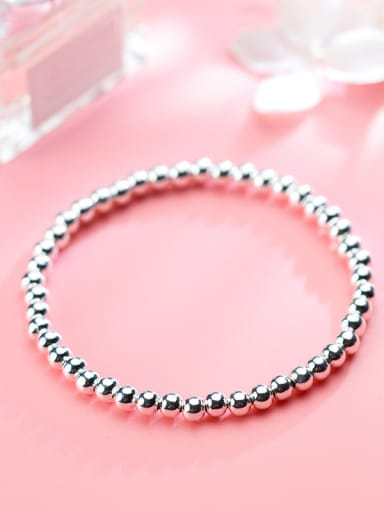 925 Sterling Silver With Platinum Plated Classic beads Charm Bracelets