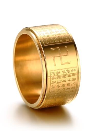 Exquisite Gold Plated Scripture Geometric Titanium Ring