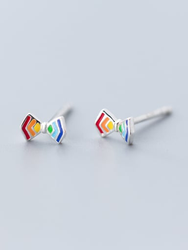 925 Sterling Silver With Platinum Plated Cute Bowknot Stud Earrings