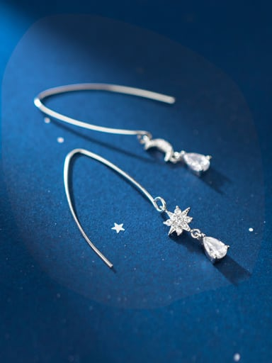 925 Sterling Silver With  Cubic Zirconia  Simplistic Star Moon Hook Earrings
