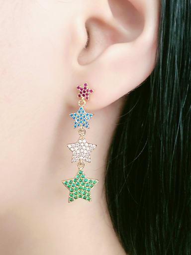 Copper With  Cubic Zirconia Fashion Star 2 Piece Jewelry Set