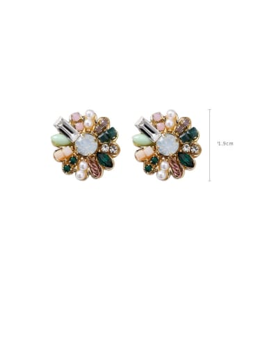 Alloy With Rose Gold Plated Vintage Flower Stud Earrings