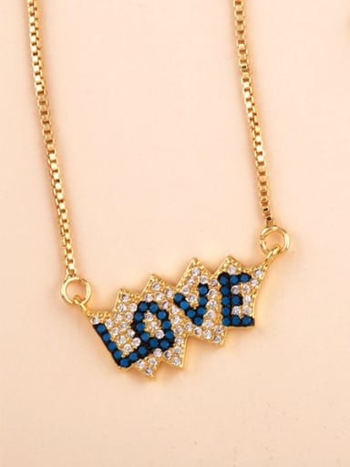 Copper With  Cubic Zirconia Delicate Monogrammed Necklaces